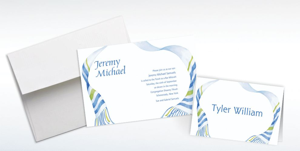 Custom Flowy Tallis Masculine Invitations and Thank You Notes