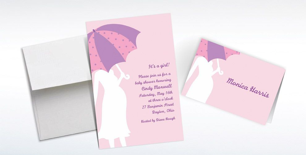 Custom Mommy with Umbrella Pink Baby Shower Invitations and Thank You Notes