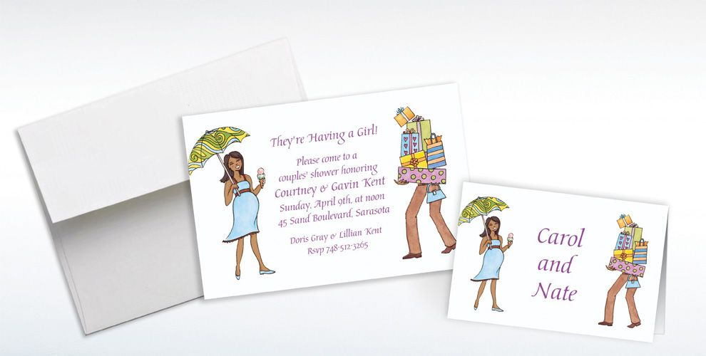 Custom African American Coed Baby Shower Invitations and Thank You Notes