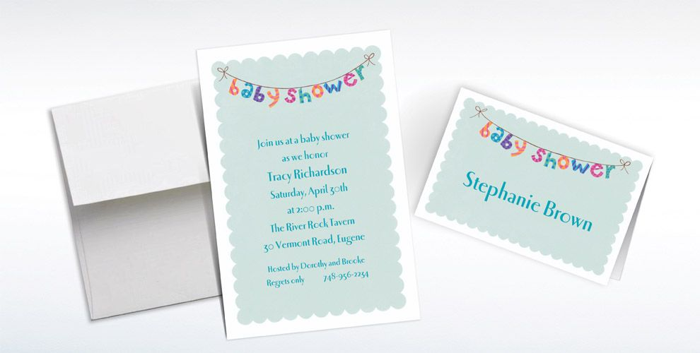 Custom Baby Shower Banner Baby Shower Invitations & Thank You Notes ...