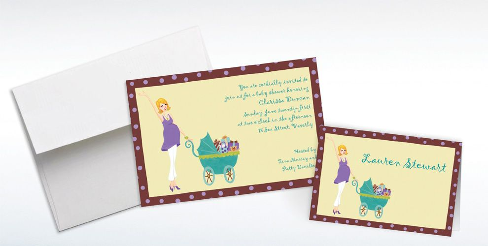 Custom Momma with Carriage Baby Shower Invitations and Thank You Notes