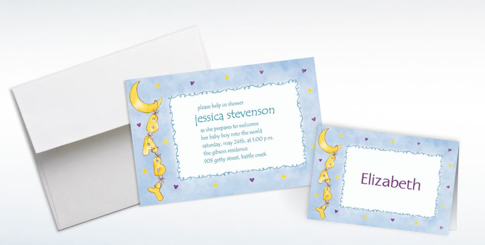 Custom Moon and Stars Baby Shower Invitations and Thank You Notes