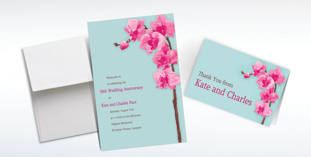 Custom Elegant Orchids Invitations and Thank You Notes