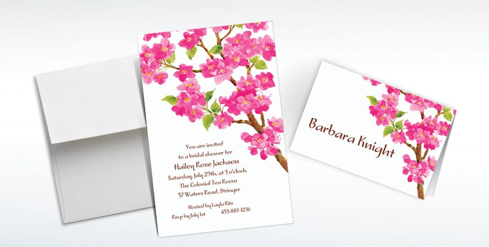 Custom Sweet Cherry Blossoms Invitations and Thank You Notes