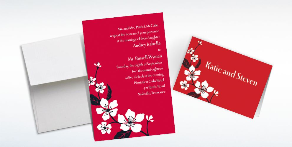 Custom Bold Cherry Blossoms Invitations and Thank You Notes