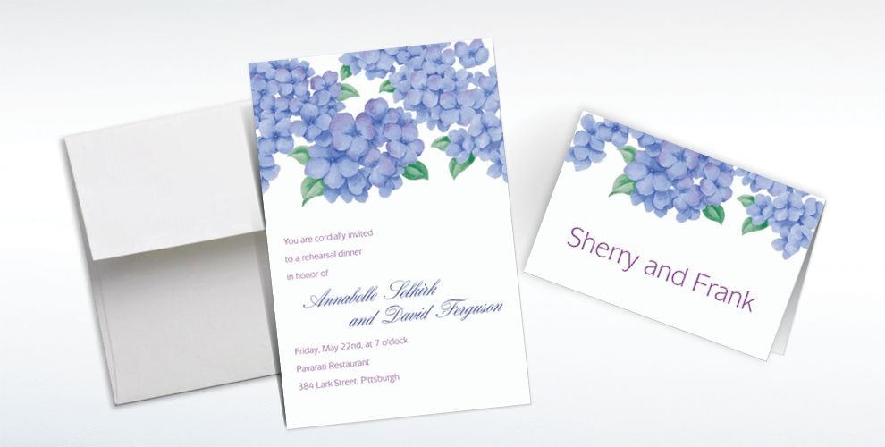 Custom Lively Hydrangeas Invitations and Thank You Notes