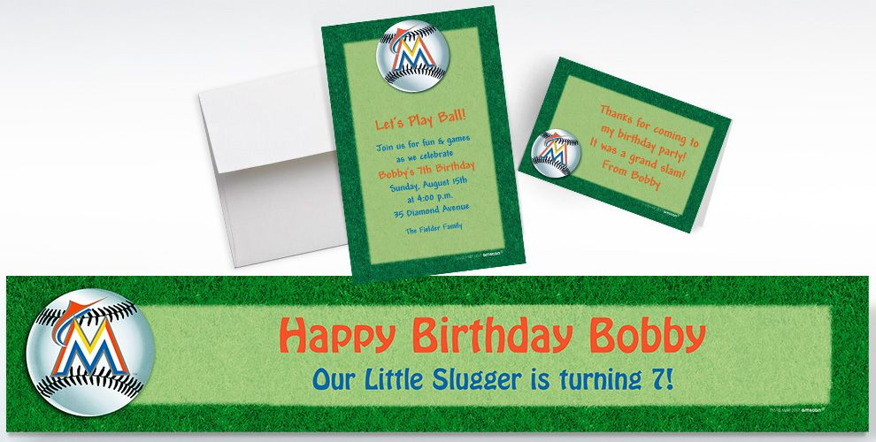 Custom Miami Marlins Invitations and Thank You Notes