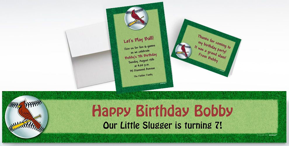 Custom St. Louis Cardinals Invitations and Thank You Notes