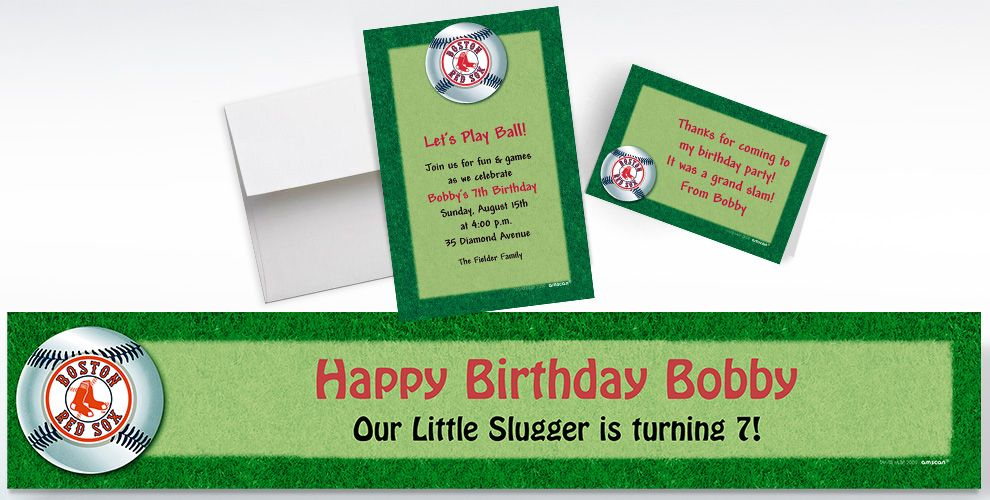 Custom Boston Red Sox Invitations and Thank You Notes
