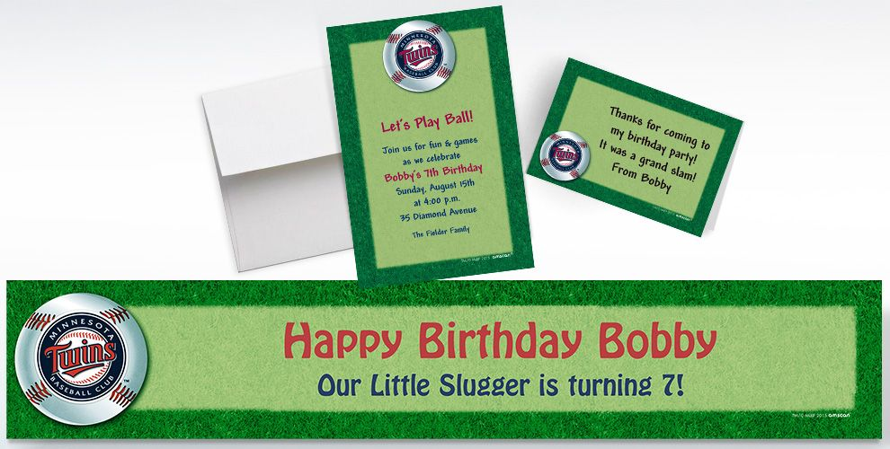 Custom Minnesota Twins Invitations and Thank You Notes