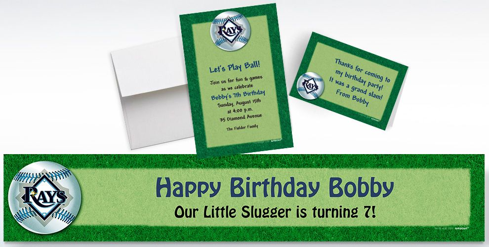 Custom Tampa Bay Rays Invitations and Thank You Notes