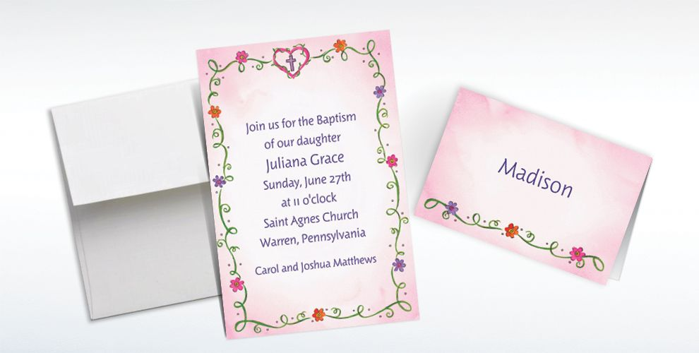 Custom Sweet Flowers, Heart and Cross Invitations and Thank You Notes