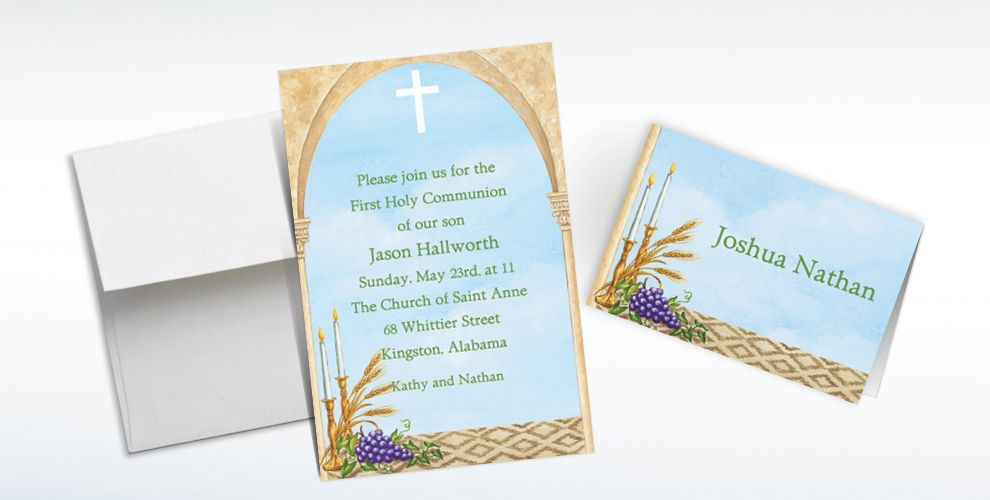 Custom Cross, Candles and Wheat Invitations and Thank You Notes