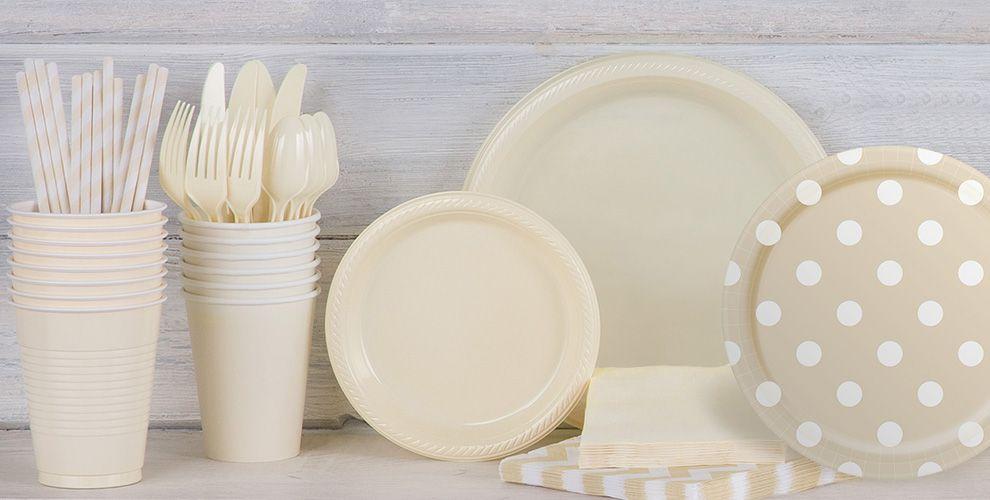 Vanilla Cream Polka Dot and Chevron Tableware