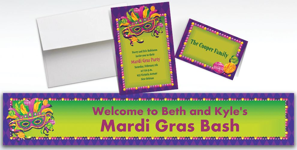 Custom Masquerade Mardi Gras Invitations and Thank You Notes