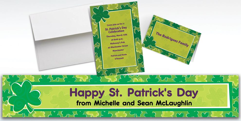 Custom Playful Shamrocks St. Patrick's Day Invitations and Thank You Notes