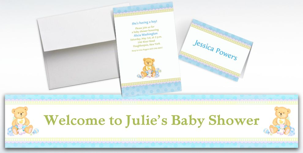 Custom Precious Bear Blue Baby Shower Invitations and Thank You Notes