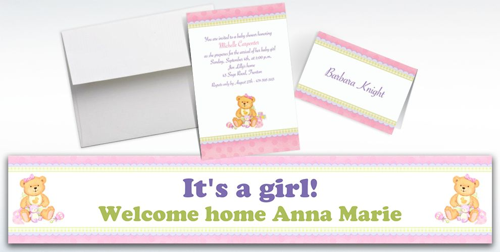 Custom Precious Bear Pink Baby Shower Invitations and Thank You Notes