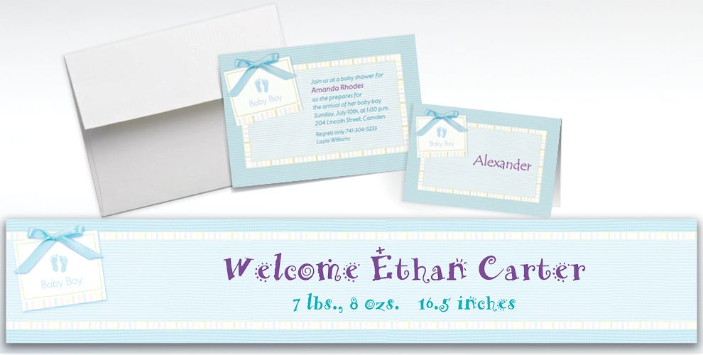 Custom Baby Soft Blue Baby Shower Invitations and Thank You Notes