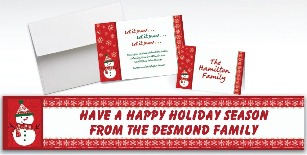 Custom Very Merry Snowman Invitations and Thank You Notes