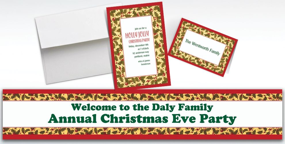 Custom Winter Holly Invitations and Thank You Notes