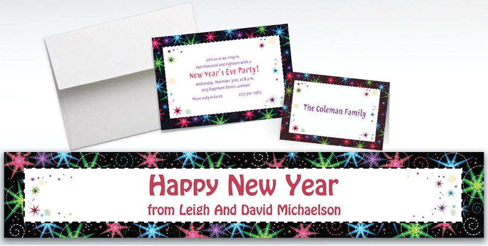 Custom Night Lights New Year's Invitations and Thank You Notes