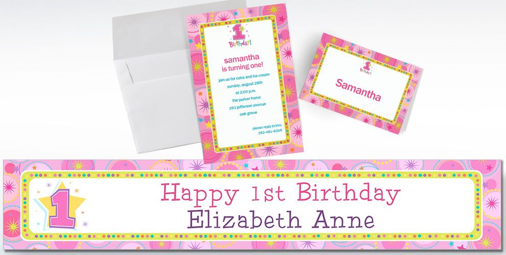 Custom One-Derful Girl 1st Birthday Invitations and Thank You Notes