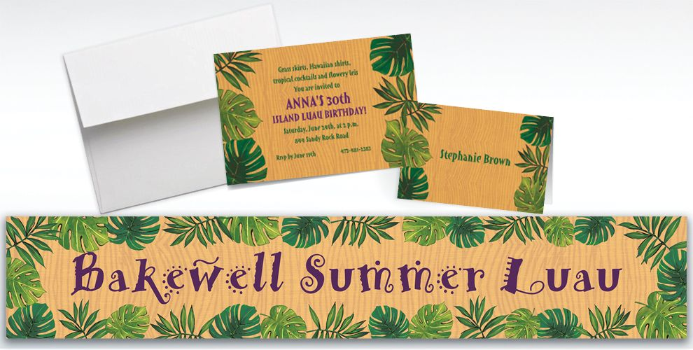Custom Island Palms Invitations and Thank You Notes