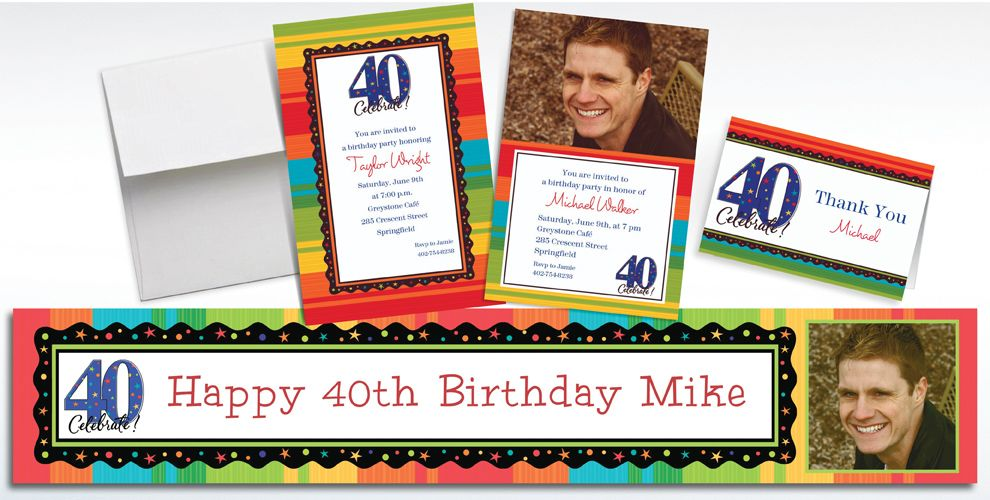 Custom A Year to Celebrate 40th Birthday Invitations and Thank You Notes