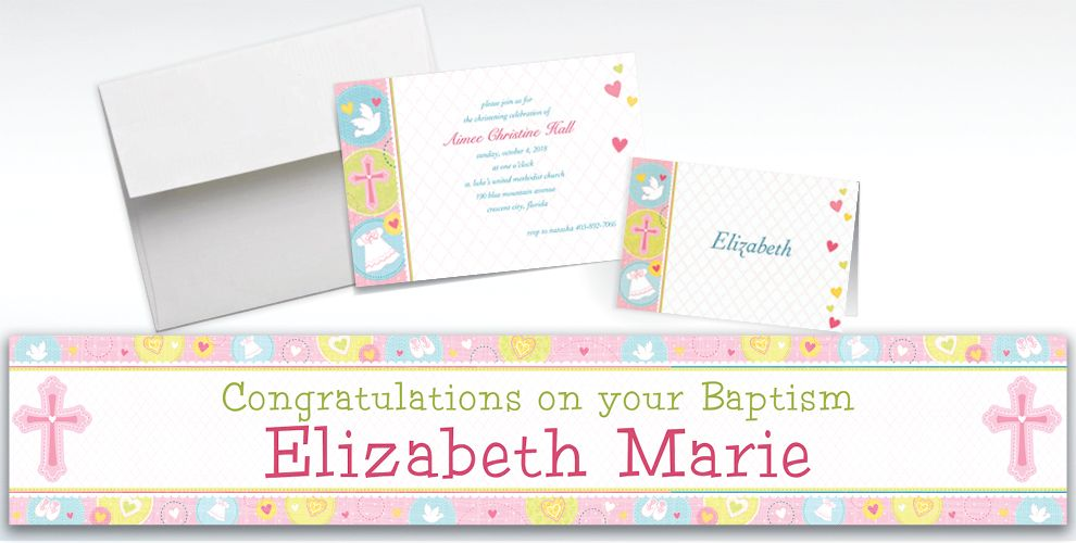 Custom Sweet Christening Girl Invitations and Thank You Notes