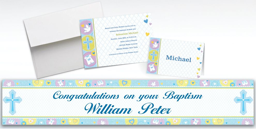 Custom Blue Sweet Religious Invitations and Thank You Notes
