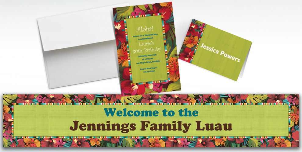 Custom Beach Bound Luau Invitations and Thank You Notes