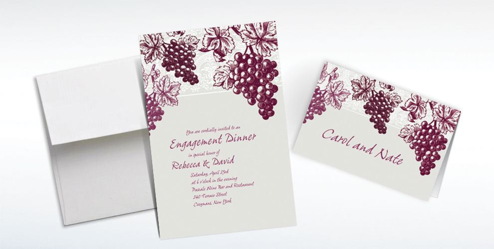 Custom Grape Vine Silhouette Invitations and Thank You Notes