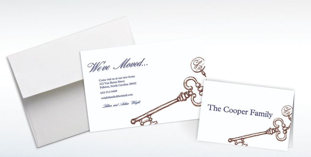 Custom Vintage Key Moving Announcements and Thank You Notes
