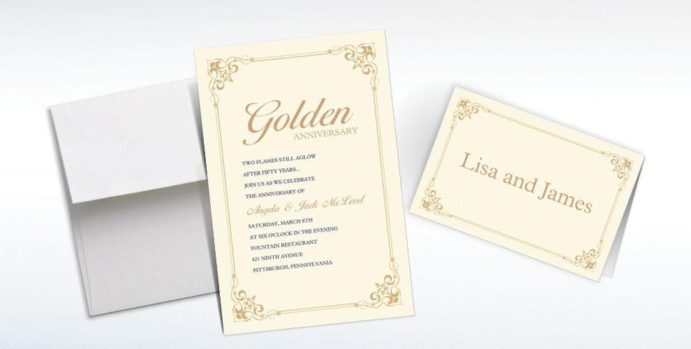 Custom Flourish Corners Gold Invitations and Thank You Notes
