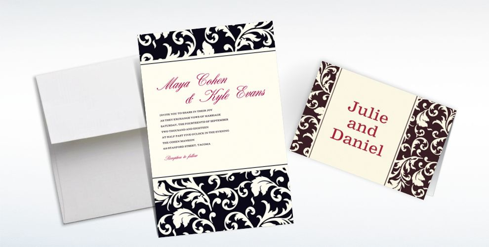 Custom Damask Black Stripe Invitations and Thank You Notes