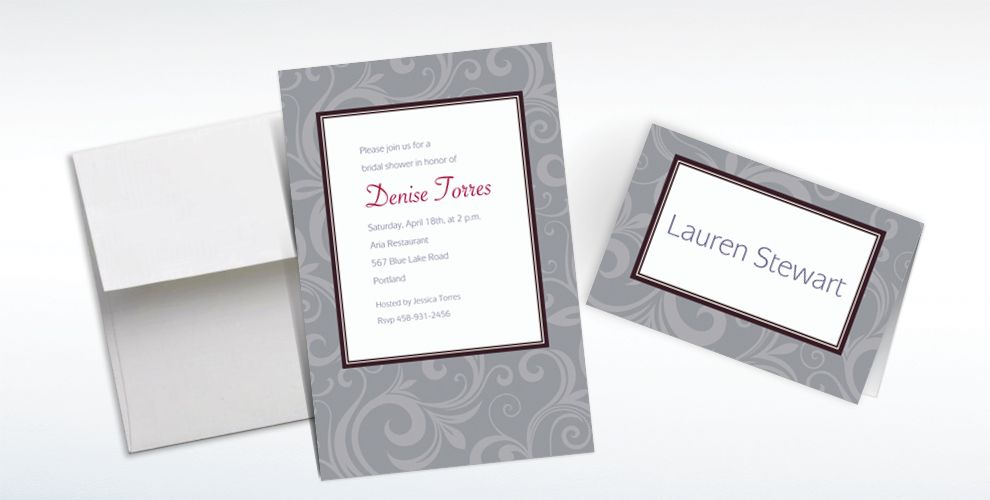 Custom Floating Border Gray Invitations and Thank You Notes