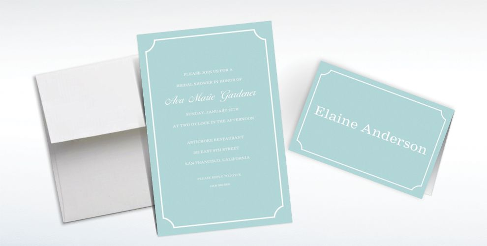 Custom Formal Corners Teal Invitations and Thank You Notes