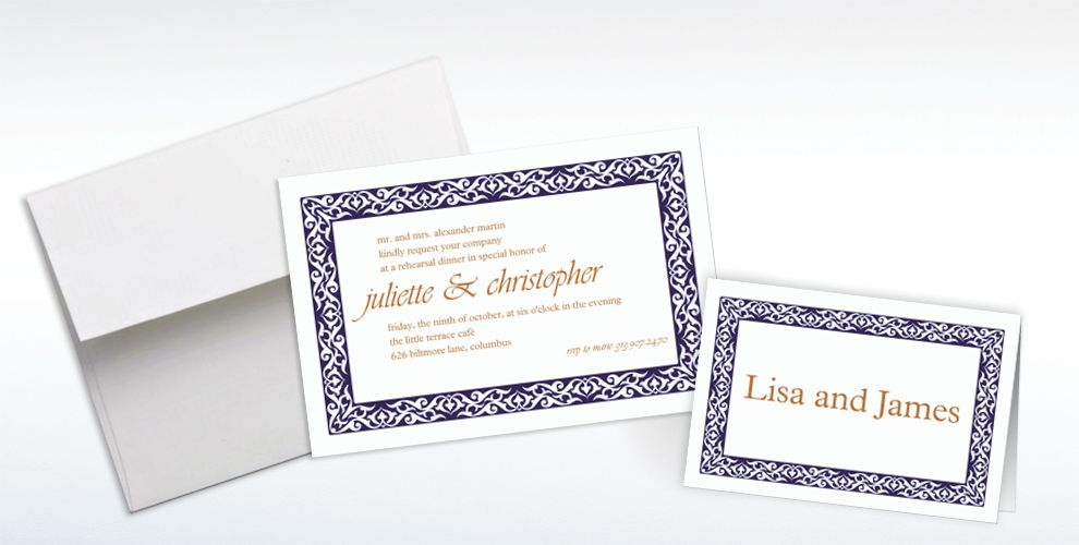 Custom Embellished Borders Navy Invitations and Thank You Notes