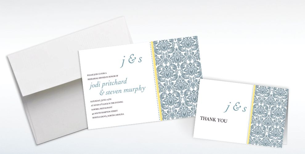 Custom Decorative Damask Yellow Invitations and Thank You Notes