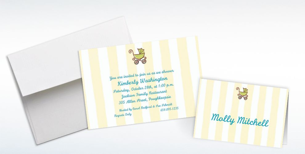 Custom Tiny Carriage on Stripe Baby Shower Invitations and Thank You Notes