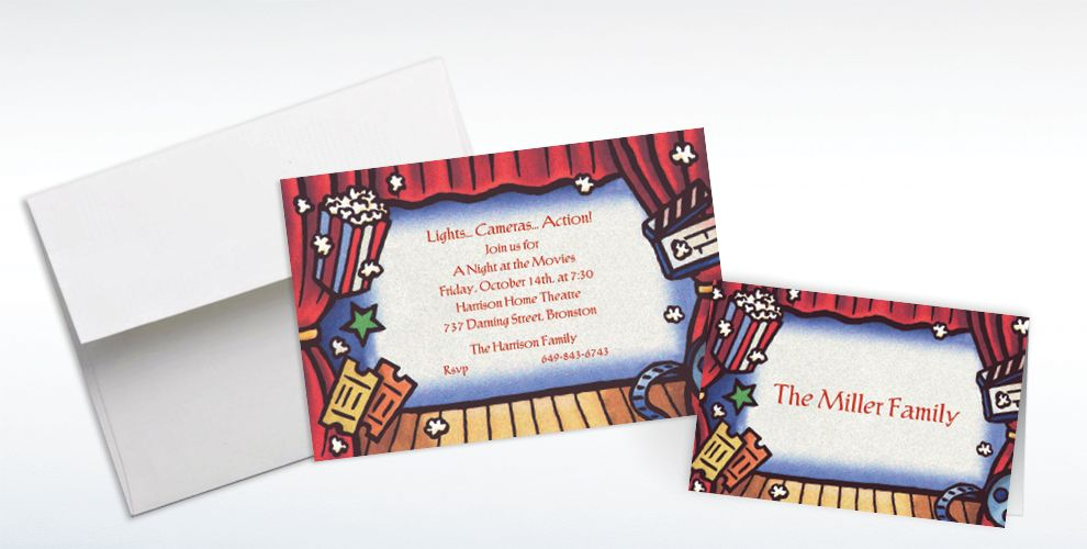 Custom Movie Theatre Invitations and Thank You Notes