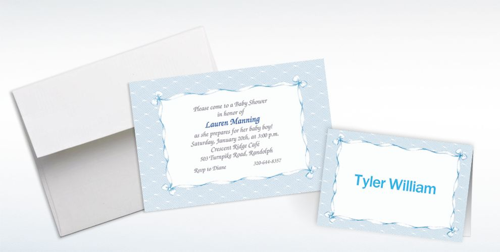 Custom Blue Lace and Bows Baby Shower Invitations and Thank You Notes