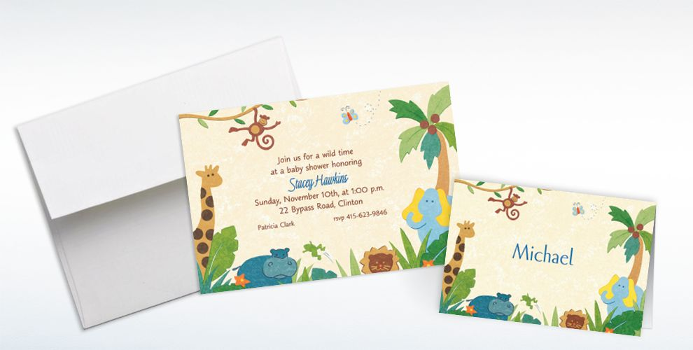 Custom Cute Jungle Animals Baby ShowerInvitations and Thank You Notes