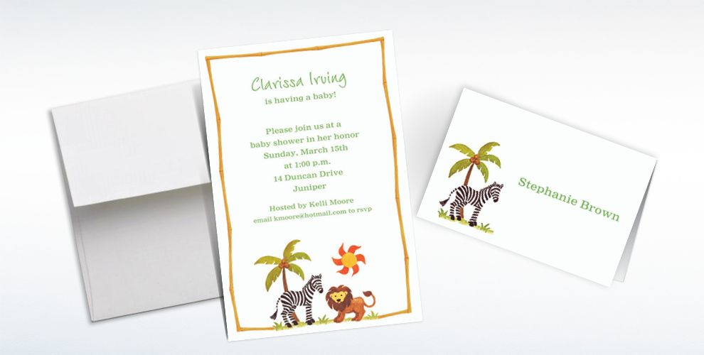 Custom Zebra and Friends Baby Shower Invitations and Thank You Notes