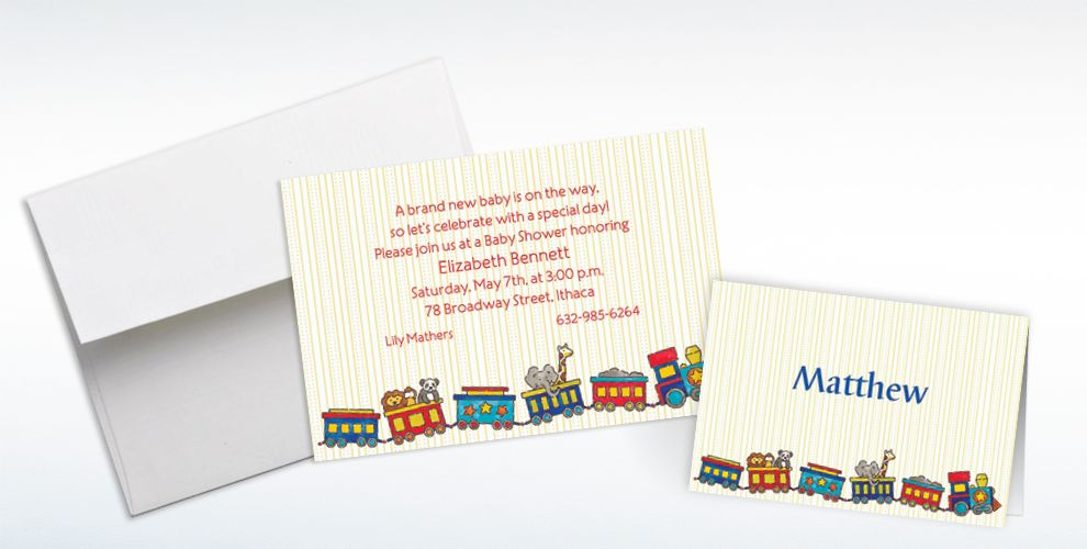 Custom Little Trains Baby Shower Invitations and Thank You Notes