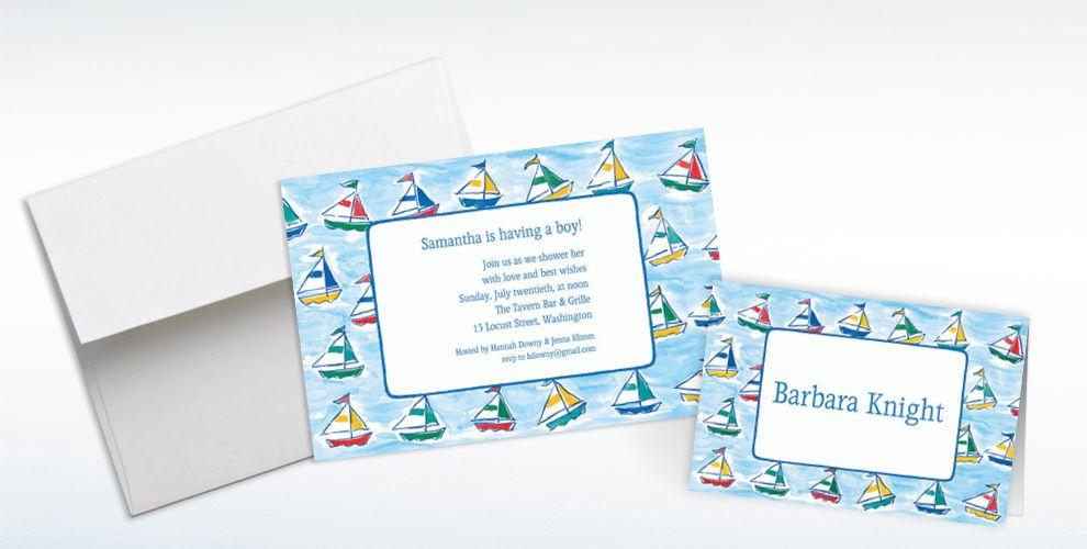 Custom Sailing Sailboats Baby Shower Invitations and Thank You Notes