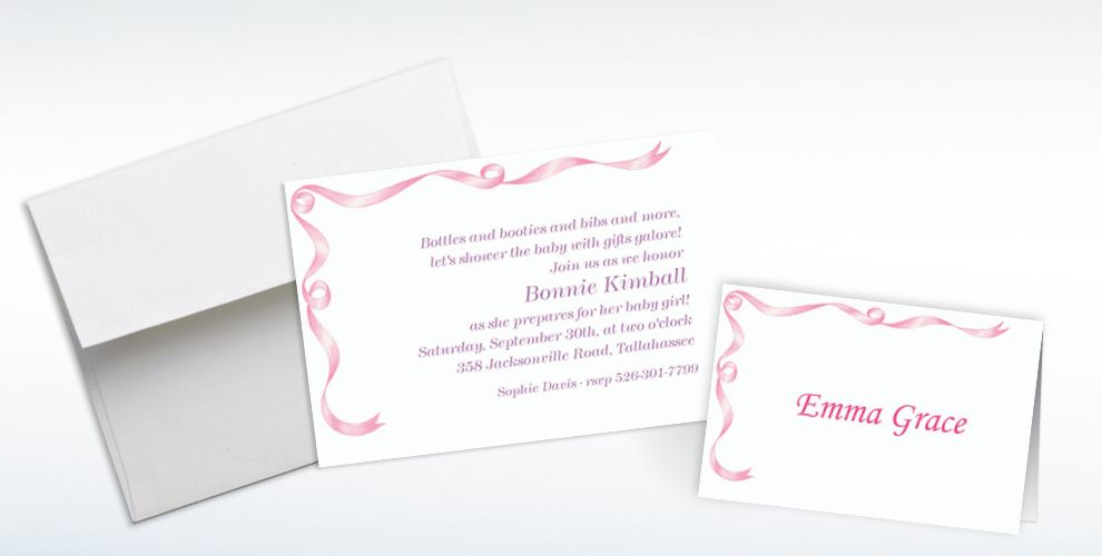 Custom Simple Pink Ribbon Baby Shower Invitations and Thank You Notes