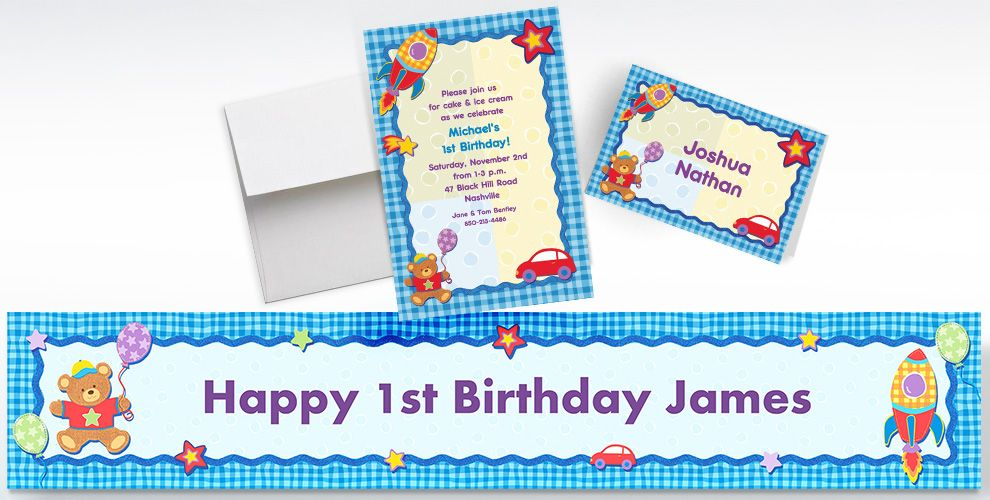 Custom Hugs and Stitches Boy Birthday Invitations, Thank You Notes and Banners