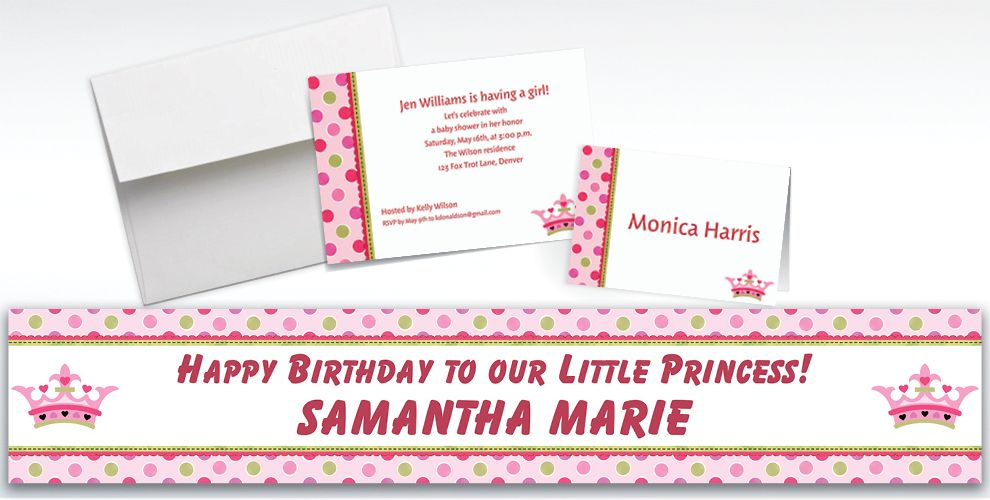 Custom Little Princess Baby Shower Invitations and Thank You Notes